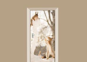 Deursticker eekhoorntjes winterpret