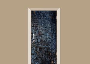 Deursticker verbrand hout