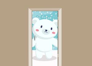 Deursticker ijsbeertje in de sneeuw