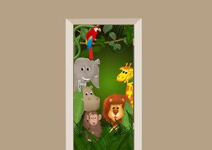 Deursticker dieren in het bos