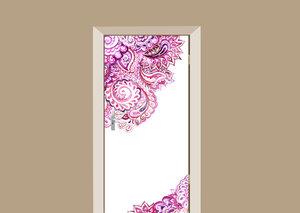 Deursticker paisley roze
