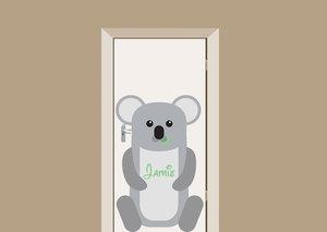 Deursticker babykamer koala met naam 70x109cm
