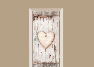 Deursticker houten hart op boomschors