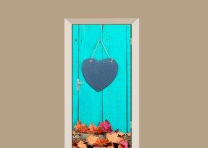Deursticker houten deur met hart turquoise