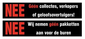 Sticker set géén collectes, verkopers of geloofsovertuigers!