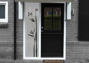 Voordeursticker bamboetak met huisnummer 38.5