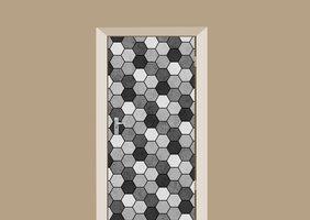 Deursticker abstract tegeltje grijs