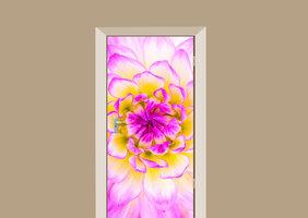 Deursticker dahlia roze met geel