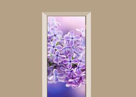 Deursticker bloemen paars