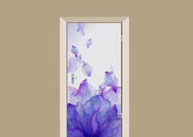 Deursticker bloemblaadjes paars