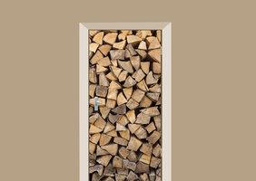Deursticker houtblokken