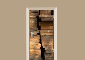 Deursticker gestapelde planken