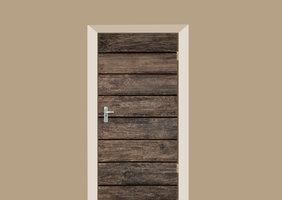 Deursticker bruine planken