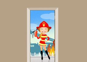 Deursticker brandweervrouw