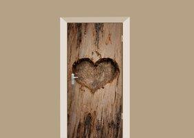 Deursticker houten hart gekerfd