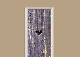 Deursticker houten deur met hart lavendel