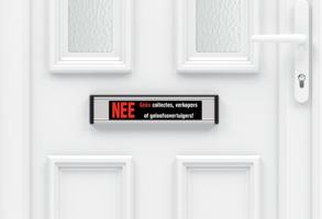 Sticker geen verkoop aan de deur