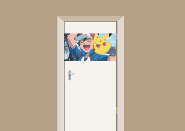 Deursticker Ash en Pikachu 90x48cm