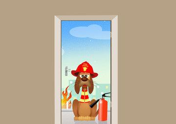 Deursticker brandweer hond