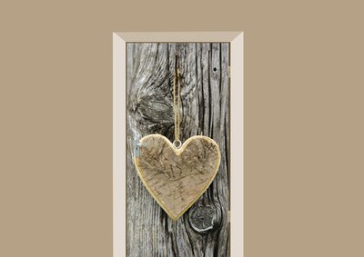 houten hart op boom