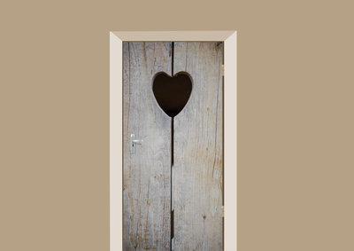 deursticker houten hart grijs