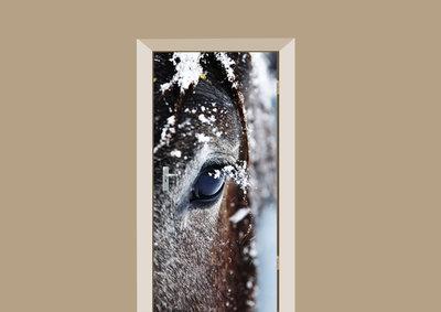 Deursticker paard in de sneeuw