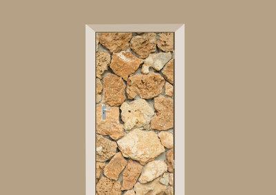 deursticker tegels en stenen gele steentjes