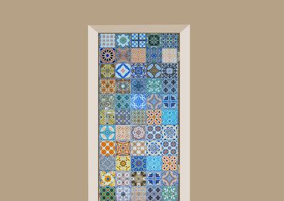deursticker tegels en stenen portugese tegeltjes blauw