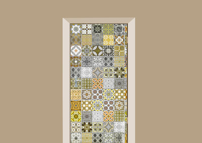 deursticker tegels en stenen portugese tegeltjes geel