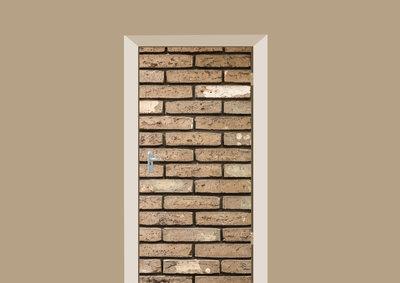deursticker tegels en stenen gele bakstenen