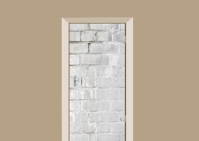deursticker tegels en stenen licht grijze muur