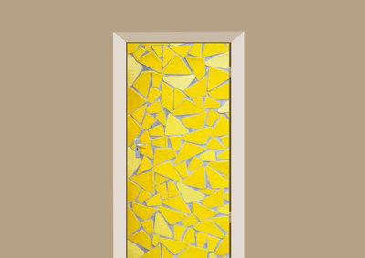 deursticker tegels en stenen mozaiek geel