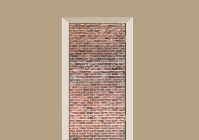 deursticker tegels en stenen oude bakstenen muur