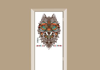 deursticker mohemian wolf multicolor