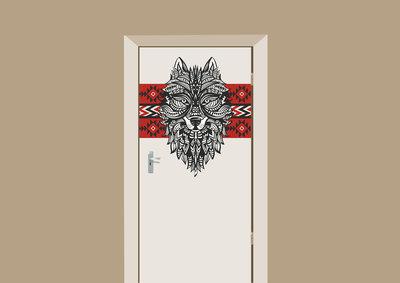 deursticker bohemian wolf zwart wit