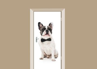 Deursticker Franse Bulldog met strikje