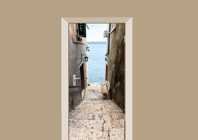 deursticker natuur trap naar de zee
