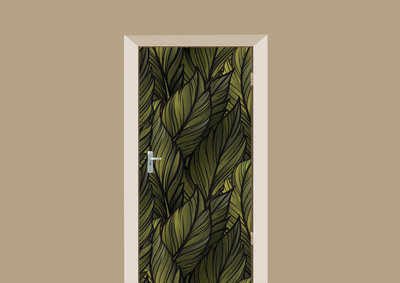 deursticker patronen groene bladeren