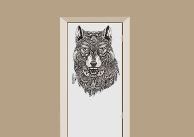 deursticker bohemian wolf
