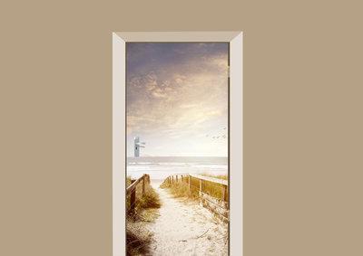 deursticker natuur uitzicht op het strand