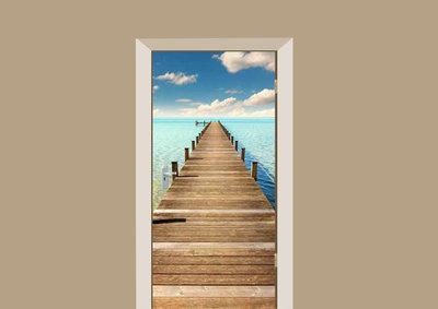 deursticker natuur steiger aan zee