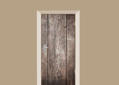 B-keus: Deursticker brede houten planken 95x220cm (BxL)