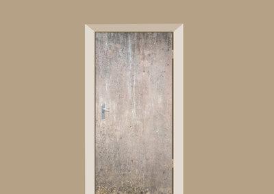 deursticker tegels en stenen betonnen muur