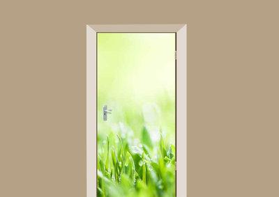 deursticker natuur dauw op gras