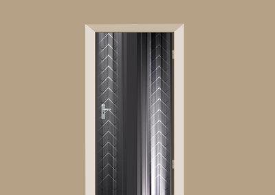 Deurstickers abstract metal feathers
