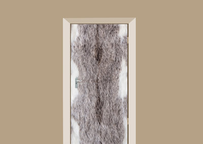 deursticker dierenprint grijze vacht