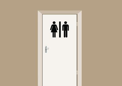 Deursticker toiletdeur dames en heren toilet