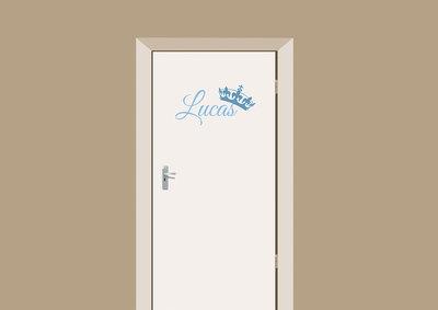 Deursticker babykamer blauw met naam