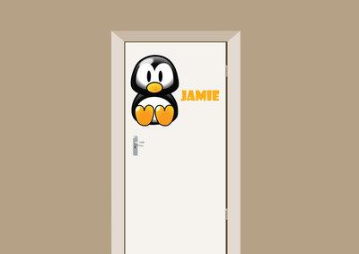 Deursticker pinguin met naam