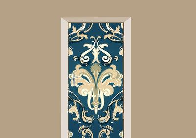 Deursticker barok donkerblauw creme